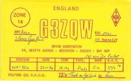 Amateur Radio QSL Card - G3ZQW - Brighton, Sussex ENGLAND - 1974 - Radio Amateur
