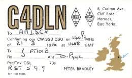 Amateur Radio QSL Card - G4DLN - Hornsea, East Yorks ENGLAND - 1976 - Radio Amateur