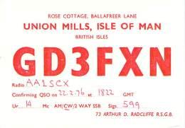 Amateur Radio QSL Card - GD3FXN - Union Mills, Isle Of Man UK - 1976 - Radio Amateur
