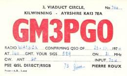 Amateur Radio QSL Card - GM3PGO - Ayrshire, Scotland - 1974 - Radio Amateur