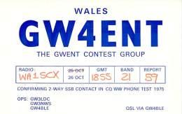 Amateur Radio QSL Card - GW4ENT - Gwent Contest Group - Wales - 1975 CQ WW Phone 21MHz - Radio Amateur