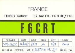 Amateur Radio QSL Card - F6CRT - Paris, France - 1975 - 2 Scans - Radio Amateur