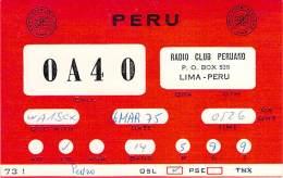 Amateur Radio QSL Card - OA4O Radio Club Peruano - Lima, Peru -  Mar 1975 On 14MHz - Radio Amateur