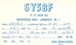 Amateur Radio QSL Card - 6Y5BF - Montego Bay, Jamaica - 1974 On 7mHz - 2 Scans - Radio Amateur
