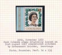 Cook Islands -Aitutaki SG 48 1972 Queen Elizabeth II MNH - Cook