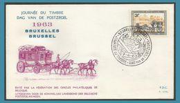 Belgique 1963 1249 FDC Journée Du Timbre Malle-poste Dag Van De Postzegel Postkoets Oblitéré Bruxelles Brussel Chevaux - 1961-70