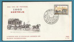 Belgique 1963 1249 FDC Journée Du Timbre Malle-poste Dag Van De Postzegel Postkoets Oblitération Kortrijk Chevaux - FDC