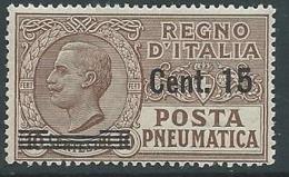 1924-25 REGNO POSTA PNEUMATICA SOPRASTAMPATO 15 SU 10 CENT MNH ** - G233 - Correo Neumático