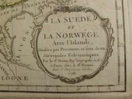 CARTE SUEDE NORVEGE ET ISLANDE PAR BRION DE LA TOUR 1766 - Carte Geographique