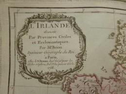 CARTE IRLANDE PROVINCES CIVILES ET ECCLÉSIASTIQUES PAR BRION DE LA TOUR 1766 - Carte Geographique