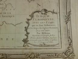 CARTE TURQUIE EUROPENNE AVEC LES ETATS QUI EN SONT TRIBUTAIRE PAR BRION DE LA TOUR 1766 - Mapas Geográficas