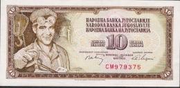 YUGOLAVIA P82a 10  DINARA  1968  CM     UNC. - Yugoslavia