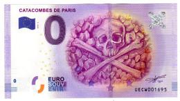 2016-2 BILLET TOURISTIQUE 0 EURO SOUVENIR N° 001695 CATACOMBES DE PARIS - Essais Privés / Non-officiels