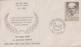 Enveloppe  FDC   1er  Jour  INDE   LAL  BAHADUR  SHASTRI   1966 - FDC