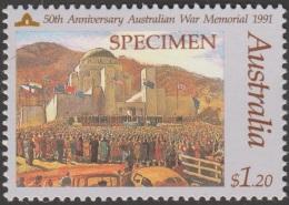 Australie 1991 Y&T 1201 Michel 1243. Surcharge « Specimen ». Mémorial De Guerre. Tableau D'Harold Abbot. Drapeaux - 2. Weltkrieg