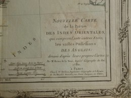 CARTE INDES ORIENTALES POSSESSIONS DES ANGLAIS PAR BRION DE LA TOUR 1766 - Mapas Geográficas