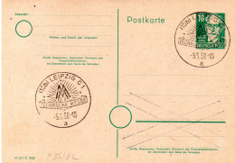 "Amtl. Ganzsachen-Postkarte P35/02 A.Bebel 10 Pf. Blanco SSt. 5.3.50 LEIPZIG C1,""MESSE-TECHNISCHE MESSE"" - Zone Soviétique"
