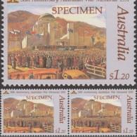 Australie 1991 Y&T 1201 Michel 1243. Surcharge « Specimen ». Paire. Mémorial De Guerre. Tableau D´Harold Abbot. Drapeaux - 2. Weltkrieg