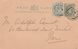 Grande Bretagne Entier Postal Privé Repiquage The Spassky Copper Mine ( Russie Russia ) London 1905 Pour Paris - Interi Postali