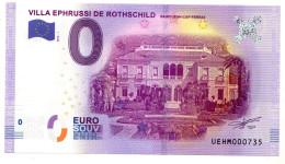 2016-1 BILLET TOURISTIQUE 0 EURO SOUVENIR N° 000735 VILLA EPHRUSSI DE ROTHSCHILD - EURO