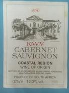 1345 - Afrique Du Sud K.W.V Cabernet Sauvignon Coastal Region 1976 - Etiquettes