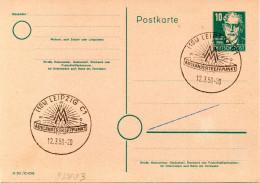 """Amtl. Ganzsachen-Postkarte P35/03 A.Bebel 10 Pf. Blanco 2x SSt. 12.3.50 LEIPZIG C1,""""MESSE-AUSLÄNDERTREFFPUNKT"""" - Zone Soviétique"""