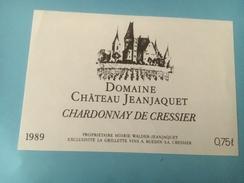 1354 - Suisse  Neuchâtel Domaine Château Jeanjaquet Chardonnay De Cressier - Etiquettes