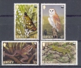 Mwe080s WWF FAUNA VLINDER VOGEL KIKKER HAGEDIS OWL BUTTERFLIES BIRDS REPTILE AMFIBIAN FROG LIZARD JERSEY 1989 PF/MNH - Unused Stamps