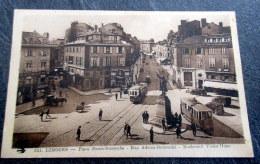 CPA Animée - LIMOGES (87) - Place Denis Dussoube - Rue Adrien Dubouché - Boulevard Victor Hugo - Tramways - Limoges