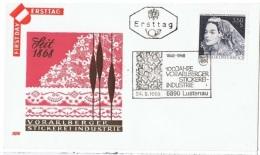 COIF-L15 - AUTRICHE FDC Vorarlberger Stickerei-Industrie Lustenau 1968 - Textile