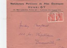 PAIRE MERCURE 60C SUR ENV MANUFACTURE PILES ELECTRIQUES PARIS POUR DEAUVILLE                           TDA105 - Marcophilie (Lettres)