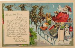 """Santa On Sled, Raindeer, Toys - """" My Dear Little Friend"""" 1908 By H.L. Robbins - No. 789 - Santa Claus"""