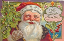 A Blissful Christmas - Large Santa Face, With Tree, Holly. Fancy Border, SANTA CLAUS SERIES NO. 2 - Santa Claus