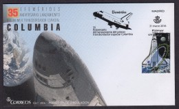 SPAIN ESPAGNE 2016 FDC. 35 ANNIVERSARY OF COLUMBIA SHUTTLE LAUNCH - 1931-Heute: 2. Rep. - ... Juan Carlos I