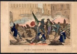 STAMPA ANTICA CROMOLITOGRAFIA UNA DELLE CINQUE GIORNATE DI MILANO 1848 - Stampe & Incisioni