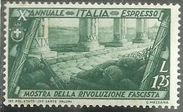 ITALIA REGNO ITALY KINGDOM 1932  DECENNALE MARCIA SU ROMA ESPRESSO SPECIAL DELIVERY LIRE 1,25 BEN MNH - 1900-44 Vittorio Emanuele III