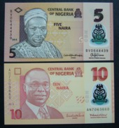 Nigeria 5 E 10 Naira - 2x Pcs Set UNC FDS Polymer - Nigeria