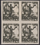Croatia SHS, Seamen, 45 Fil., Imperforated, Block Of Four, Triple Printing, Without Gum - Nuovi