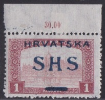 Croatia SHS, Parliament, 1 K., With Other Overprint Type, Mint, Hinged, Expert Opinion - Nuovi