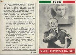 TESSERA PCI PARTITO COMUNISTA ITALIANO 1965 SEZIONE LENIN CARBONIA SARDEGNA - Documents Historiques
