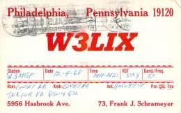Amateur Radio QSL Card - W3LIX - Philadelphia, PA - 1968 - 2 Scans - STAMPED - Radio Amateur