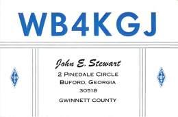 Amateur Radio QSL Card - WB4KGJ - Buford, GA - 1969 - 2 Scans - Radio Amateur