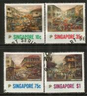 Vues De ChinaTown Singapore, Série Complète, Oblitérés, Bonne Qualité, Côte 6.00 € - Singapore (1959-...)
