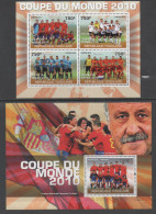 TOGO,2010, MNH, SOCCER, SOUTH AFRICA WORLD CUP, SPANISH NATIONAL TEAM, DEL BOSQUE,  OFFICIAL ISSUE,   SHEETLET + S/SHEET - 2010 – Afrique Du Sud