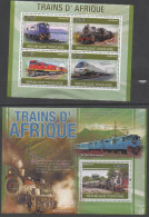 TOGO,2010, MNH, TRAINS,  OFFICIAL ISSUE,   SHEETLET + S/SHEET - Trains