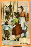 MAX-10 Illustrateur, Lion Et Famille Au Zoo. Hen A Un Oeil. Petit Pli Et Ente. Cachet 1905 - Humor