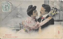 CPA COLORISEE FANTAISIE  - Demande Amour - Tu Me Demandes Si Je T'Aime  - ENCH0616 - - Femmes