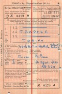 "04661 ""AG. WAGON LITS COOK - TORINO - 13 AG. 1957 - BIGL. TAMPERE - TORINO N° 0379A VALIDO DAL 16.8.57""  DOCUM. ORIGIN. - Treni"