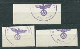 Deutsche Post Osten ZAGORZ Postmarks - Lot Of 3 - Occupation 1938-45