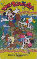 Télécarte Dorée Japon / MF-1002304 - DISNEY SEA - Mickey Minnie Donald - Japan Gold Phonecard Telefonkarte - Disney